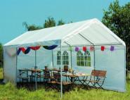 SIENA GARDEN Partyzelt, Autopavillon, Gestell aus Stahl in silber, Dach- und Seitenteile in weiß, ca. 300 cm x 600 cm x 300 cm