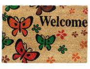 SIENA HOME Kokosmatte, Türmatte, Fußabstreifer, Ruco Print, 40 x 60 cm Welcome Butterfly