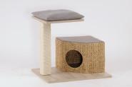 Silvio Design Kratzturm, Katzenhöhle, Kratzbaum Wohnboy Loom, Holzdekor: Eiche gebürstet, Maße: ca. 36 x 60 x 54 cm