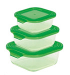 Steuber 3er Set Glas-Frischhaltedosen, quadratisch, 3 Größen