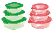 Steuber 6 Glas-Frischhaltedosen, rund/rechteckig, rot/grün