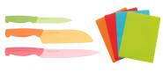 Steuber 7-tlg. Schneidematten + Küchenmesser Set, 38 x 28 cm Schneidebrett-Matten mit Allzweckmesser, Fleischmesser, Santokumesser, bunt