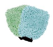 Steuber Chenille Mikrofaser Handschuh Duo 2er Set, bestehend aus 1 pastellblauen Handschuh und 1 pastellgrünen, bei 30°C waschbar,