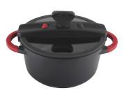 Steuber Niederdruck Kochtopf für alle Herdarten, 4800 ml, Ø 24 cm, antihaft, vitaminschonend, bis 230°C backofengeeignet, rutschfeste Silikongriffe