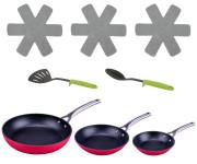 Steuber Pfannen Set MEGA RED, 8-teilig, 3x Antihaft-Bratpfannen 3x Pfannen-Schutz, Pfannenwender und Servierlöffel