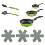 Steuber Pfannen Set PLUS grün, 8-teilig, 3x Antihaft-Bratpfannen 3x Pfannen-Schutz, Pfannenwender und Servierlöffel
