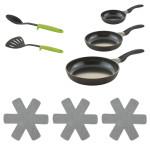 Steuber Pfannen Set PLUS schwarz, 8-teilig, 3x Antihaft-Bratpfannen 3x Pfannen-Schutz, Pfannenwender und Servierlöffel
