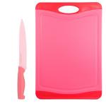Steuber Schneidebrett mit Küchenmesser Set Himbeer, 44 x 30 cm Küchenbrett mit Fleischmesser 32 cm, Kunststoff-Schneidebrett, Anti-Rutsch, rot