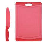 Steuber Schneidebrett mit Küchenmesser Set Himbeer, 44 x 30 cm Küchenbrett mit Gemüsemesser 30 cm, Kunststoff-Schneidebrett, Anti-Rutsch, rot