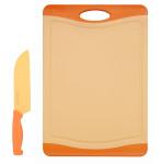 Steuber Schneidebrett mit Küchenmesser Set Orange, 37 x 25 cm Küchenbrett mit Santokumesser 30,5 cm, Kunststoff-Schneidebrett, Anti-Rutsch, orange