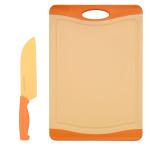 Steuber Schneidebrett mit Küchenmesser Set Orange, 44 x 30 cm Küchenbrett mit Santokumesser 30,5 cm, Kunststoff-Schneidebrett, Anti-Rutsch, orange