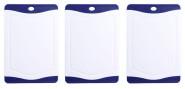 Steuber 3er Set Schneidebrettchen, Frühstücksbrettchen Blau 20 x 14 cm mit Saftrinne, beidseitig verwendbar, messerschonend, Anti-Rutsch-Oberfläche