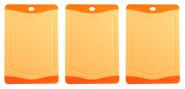 Steuber 3er Set Schneidebrettchen, Frühstücksbrettchen Orange 20 x 14 cm mit Saftrinne, beidseitig verwendbar, messerschonend, Anti-Rutsch-Oberfläche