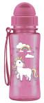 Steuber Trinkflasche kid'S Fun aus Kunststoff, 460 ml, Einhorn rosa, Schraubverschluss mit Schutzkappe, integrierter Strohhalm