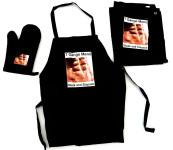 Tinas Collection 3tlg. Schürzen Set in schwarz, Schürze, Handschuh, Geschirrtuch