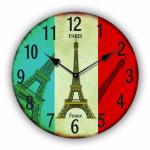 Tinas Collection runde moderne Wanduhr mit dem Motiv Flagge mit Eiffelturm, Ø 30 cm