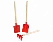 Turk Kleinkinder 3tlg. Geräte-Set rot, Sandkastenset, Strandset, Schaufel, Spaten, Rechen 30 cm, mit Holzstielen