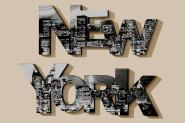 Wandbild, Wanddekoration Schriftzug New York, 2-teilig, aus Holz, ca. 90 cm x 2 cm x 17 cm