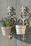 Wandblumentopf, Pflanztopf mit Wandhalterung aus Eisen, sortiert, 1 Stück, Höhe ca. 36 cm