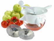 WESTMARK Passiermaschine, Passiersieb, Küchensieb aus Kunststoff mit Edelstahl Lochscheiben, 355 x 235 x 100 mm, weiß