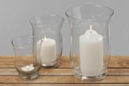 Windlicht 3er Set, Glas Kerzenhalter, Kerzenleuchter, Kerzenglas, Höhe: ca. 11 cm, 15 cm und 20 cm