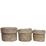 Wittkemper Living Korb Seegras rund, 3er-Set aus Seegras, im White Wash-Look, groß 28 x 28 x 19 cm, mittel 24 x 24 x 18 cm, klein 20 x 20 x 16 cm