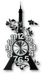 ZEP Wanduhr Eiffelturm und Blumendekor, Ziffernblatt rund, schwarz, silber und weiß, Abmessungen 54 x 29 cm