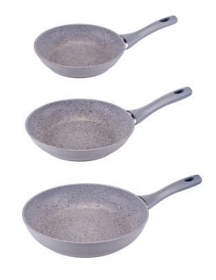 3er Set culinario Bratpfanne in Granit-Optik, Ø20, 24 und 28, in verschiedenen Farben