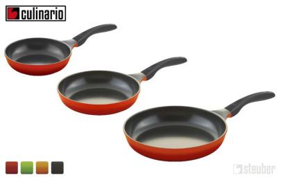 3er Set culinario Bratpfannen Ø 20, 24 und 28 cm, antihaft und induktionsgeeignet, Farbe wählbar