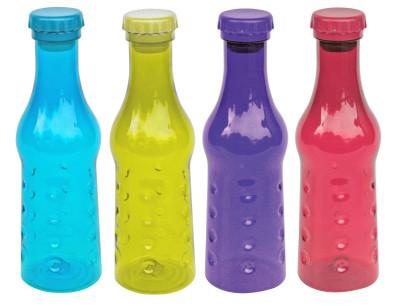 4er Set culinario Trinkflasche Spin Top, BPA-frei, 600 ml Inhalt, blau, grün, lila und pink