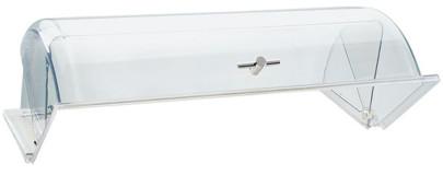 APS Abdeckhaube 32,5 cm x 26,5 cm, Höhe 15 cm glasklarer Kunststoff mit Goldgriff passend für alle GN 1/2 leichtgängig auf- und zuklappbar 90°