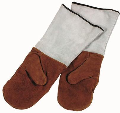 APS Backhandschuhe Länge 45 cm Leder, gefüttert mit Stulpen hitzebeständig bis +450°C nicht waschmaschinenfest