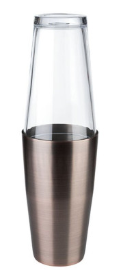 APS Boston Shaker, 2-teiliges Set - Edelstahlbecher, 700 ml - Glas, 400 ml Höhe ca. 30 cm