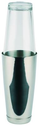 APS Boston Shaker, 2-teiliges Set - Edelstahlbecher, 700 ml - Glas, 400 ml komplette Höhe ca. 30 cm