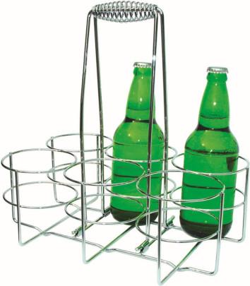 APS Flaschenträger 32 x 21,5 cm, Höhe 32,5 cm Metall verchromt für 6 Flaschen im Farbkarton