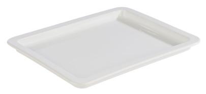 APS GN 1/2 Tablett aus Porzellan, 32,5 x 26,5 cm, Höhe 2,5 cm, Serviertablett, Servierplatte, weiß