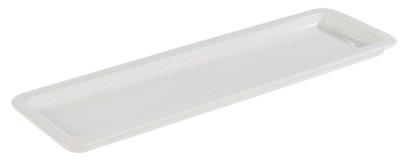 APS GN 2/4 Tablett aus Porzellan, 53,0 x 16,2 cm, Höhe 2,5 cm, Serviertablett, Servierplatte, weiß
