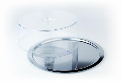 APS Kuchentablett -Finesse- rund, ca. Durchmesser 38 cm, Edelstahl Frischhaltehaube aus Luran Haubenhöhe 10 cm