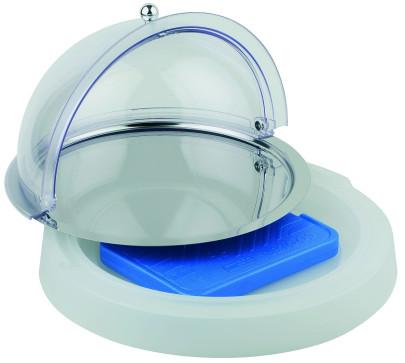 APS Kühlbox Top Fresh Set -Top Fresh- ca. Durchmesser 42 cm, Höhe 6 cm kühlbar 1 Edelstahltablett Durchmesser 38 cm