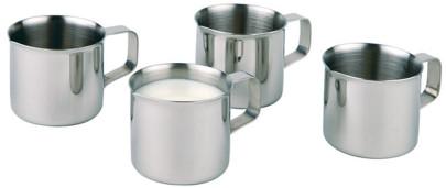 APS Milchkännchen 4er Set aus Edelstahl, mit Griff, ? 3,6 cm, Höhe 3,5 cm bei 25 ml Inhalt