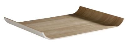 APS Tablett -FRIDA- aus Melamin, 35,5 x 26 cm, Höhe 3 cm innen: Holzoptik, außen weiß
