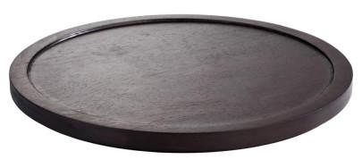 APS Tablett / Platte -ASIA PLUS- aus Holz, Ø 38 cm, Höhe 2,5 cm, dunkel, einfach gefälzt, edle Optik, Servierplatte, Serviertablett, Brotzeitplatte