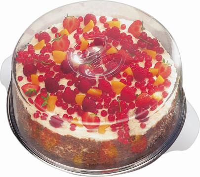 APS Tortenplatte mit 2 Hauben Durchmesser 30 cm, Haubenhöhen 7 und 10 cm Edelstahl mit Produkteinleger