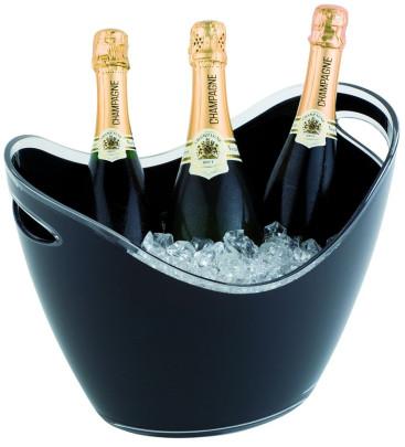 APS Wein- und Sektkühler, 35 x 27 x 25,5 cm, 6 Liter, seitliche Eingriffe in schwarz