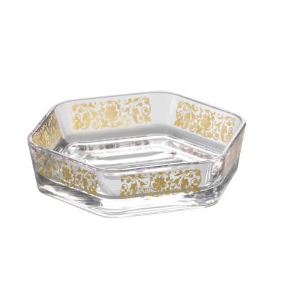 AXENTIA Badserie Vanja Seifenschale, Kunststoff transparent mit 6 Seiten Golddruck