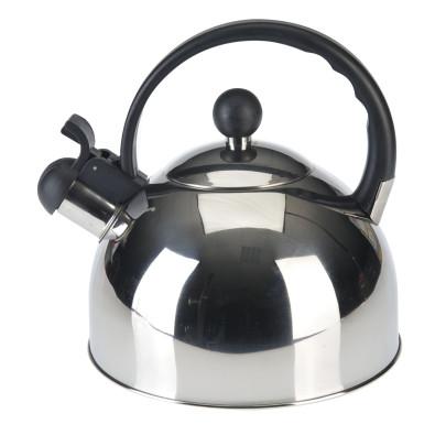 AXENTIA Flötenkessel, Wasserkessel Edelstahl 2,50 Liter Griff schwarz mit Sandwichboden