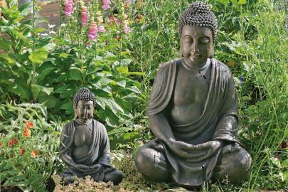 Buddha-Figur, Buddha-Skulptur aus Kunstharz, sitzend, meditierend, 1 Stück, Höhe ca. 70 cm