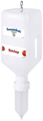 Contacto Melkdispenser Set KLEIN Silikon Dosierer & Nachfüllbehälter, Dispensersystem 2700 ml, Ketchup, Mayo, Senf, leichter Fingerdruck reicht Melkdispenser Set KLEIN