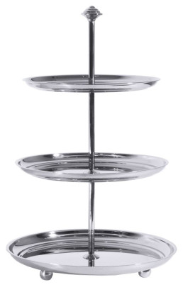 Contacto Edelstahl Petits-Fours-Etagere mit 3 Ebenen, 20 x 22,5 x 25cm