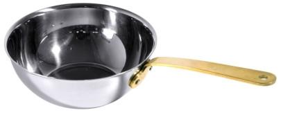 Contacto Mini Wok aus Edelstahl18/10, mit genietetem Messinggriff, Durchmesser innen 14 cm